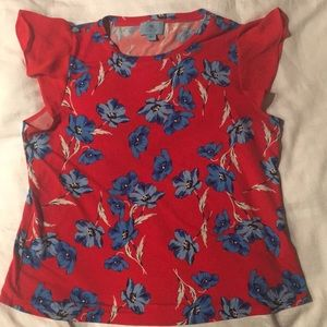 Red with flowers blouse